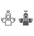 angel line and glyph icon decoration and peace vector image vector image