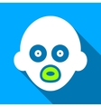 Baby Head Flat Long Shadow Square Icon vector image vector image