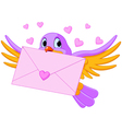 Bird with love letter vector image vector image