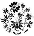 Black Floral folk pattern in circle shape vector image vector image