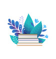 Books and blue leaves flat