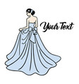 bridal wear fashion boutique logo wedding gown vector image vector image