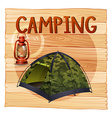 Camping equipments with lantern and tent vector image vector image