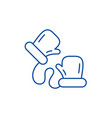 childrens mittens line icon concept childrens vector image vector image
