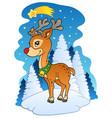 christmas reindeer with comet vector image vector image