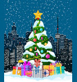 christmas winter cityscape snowflakes fir tree vector image vector image