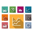 colorful flat graphs and charts vector image vector image