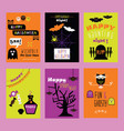colorful happy halloween kids invitation cards vector image vector image