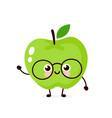 cute happy smiling apple in glasses vector image