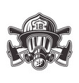 fireman head in helmet and gas mask vector image