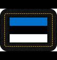 flag of estonia icon on black leather backdrop vector image