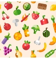 flat design fruits and vegetables pattern vector image vector image