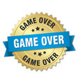 game over 3d gold badge with blue ribbon vector image vector image