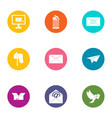general post office icons set flat style vector image vector image
