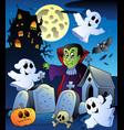 halloween scenery with cemetery 4 vector image vector image