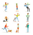 happy people having fun with pets man women and vector image vector image