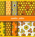 honeycomb seamless pattern set vector image vector image