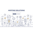 Hosting Solutions Doodle Concept vector image vector image
