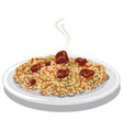 hot pilaf with meat vector image