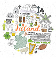 ireland sketch doodles hand drawn irish elements vector image vector image