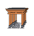 japanese torii gate row with stone path isolated vector image vector image
