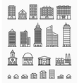 Line building icons set of outline buildings vector image