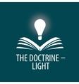 logo lamp illuminates book vector image vector image