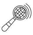 magnified global glass icon outline style vector image
