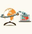 Make Money globe and computer vector image