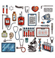 medicine equipment and tools sketch vector image