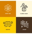 Nature honey bees honeycomb logos vector image vector image