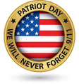 patriot day the 11th of september gold label we vector image