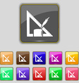 Pencil and ruler icon sign Set with eleven colored vector image vector image