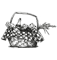 Picnic basket with snack vector image vector image
