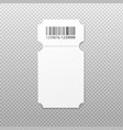 realistic ticket with carved round edges and bar vector image vector image