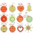 Retro christmas ornaments vector image