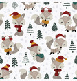 seamless pattern cute little fox in spruce forest vector image vector image