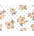 seamless pattern with pink and gold flowers on the vector image