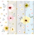 set 4 cute flower watercolor seamless pattern vector image