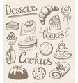 Set of dessert icons vector image vector image