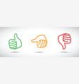 set of three thumbs up down set vector image