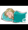 sleeping girl on a pillow vector image vector image