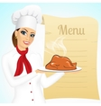 smiling female chef with christmas roasted turkey vector image vector image
