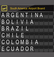 south america country airport board information vector image
