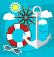 Sunny weather at the sea swim in the boat with a vector image vector image