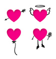 Valentines Day heart stickers with doodle details vector image vector image