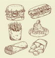 vintage fast food hand drawing vector image