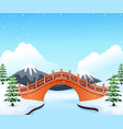 winter landscape with mountain and small stone bri vector image vector image