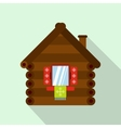 Wooden house icon flat style vector image vector image