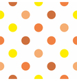 Yellow and brown polka dots on white background vector image vector image
